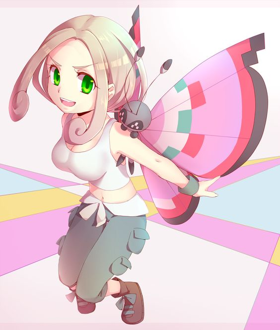 1girl antennae aoi_rena bare_shoulders blonde_hair boots breasts butterfly cleavage green_eyes midriff navel pokemon pokemon_(game) pokemon_xy short_hair smile tank_top viola_(pokemon) vivillon wings wristband: