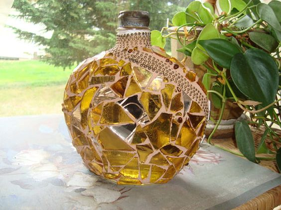 MOSAIC BOTTLE Gold Tulip by victoriacharlotte on Etsy