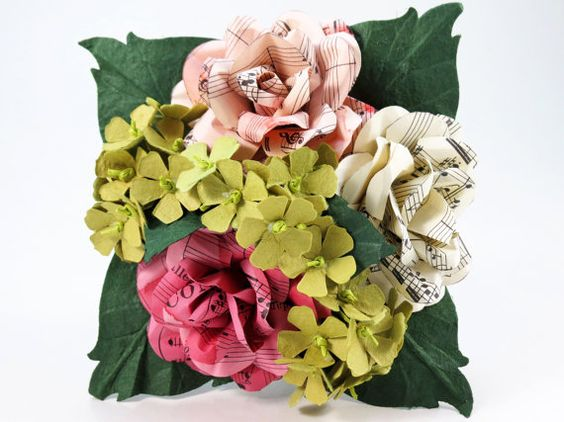 Bridesmaids Bouquet  Rose Pink Ivory Music Sheet by CeeBeeRecycle, $80.00