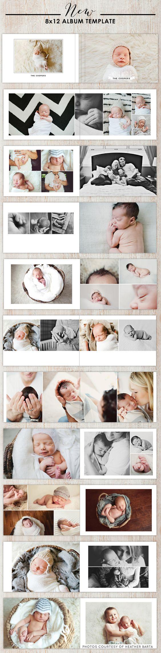 NEW versatile 8x12 album photoshop templates - designs for photographers - all occasion photography album