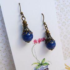 Lapis Lazuli Blue Vintage Victorian Art Nouveau BoHo Style Bronze Earrings