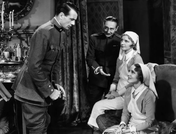 (L to R) Gary Cooper, Adolphe Menjou, Mary Philips, Helen Hayes