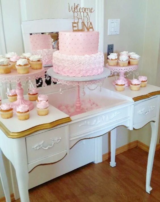 Vintage vanity table used as a sweets table by Pretty Little Showers #PrettyLittleShowers