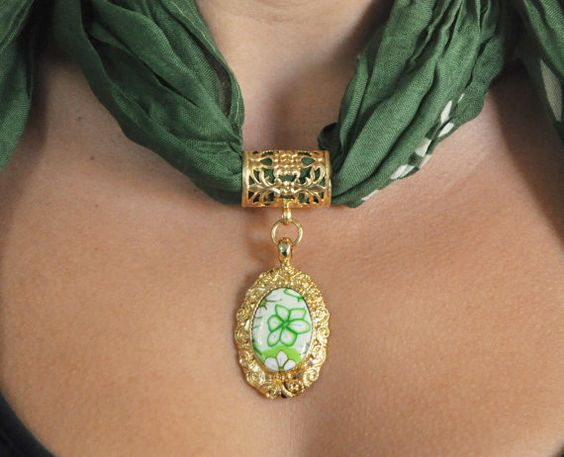 Forest green scarf jewelry Gold plated bail and by NuritNaor, $48.00
