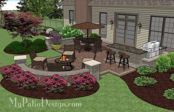 The Creative Backyard Patio Design With Seating Wall And