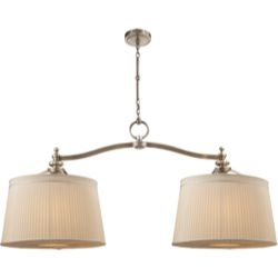 Visual Comfort Thomas O'Brien D'Arcy Double Hanging Light in Antique Nickel with Silk Pleated Shades TOB5081AN-S