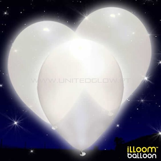 15 Balões LED Brancos