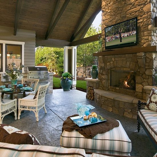 47 Fireplace Designs Ideas: Outdoor Fireplace With Gas Lanterns Design, Pictures