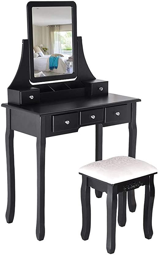 Pin On 3, Rotation Removable Mirror Dressing Vanity Table Makeup Desk With Stool White