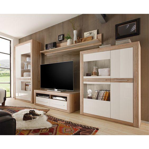 Details zu Domina Caris moderne Wohnwand weiß \/ sanremo eiche - wohnzimmer weis hochglanz