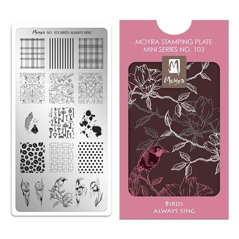 Moyra Mini Stamping Plate 103- Birds Always Sing