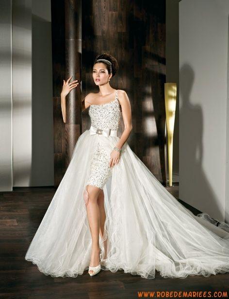 Robe de mariage courte brillante avec jupe amovible  ROBES PRINCESSE ...