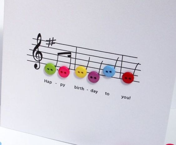 Happy Birthday Music Card - Birthday Card with Button Notes on Etsy, $4.41