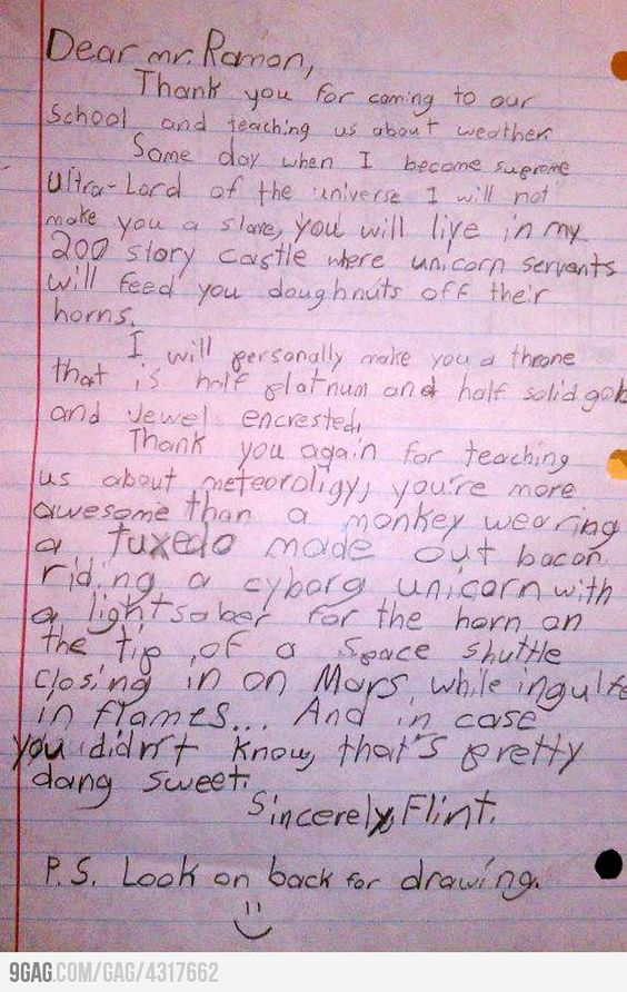 A letter to a weatherman by 4 year old