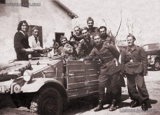 Staff sergeants with car KdF Volkswagen typ 81 right - Opel Blitz truck , April 19, 1944