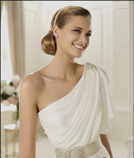Wunderschoen Satin Ein-Schulter Aermellos Lang Elfenbein Brautkleid