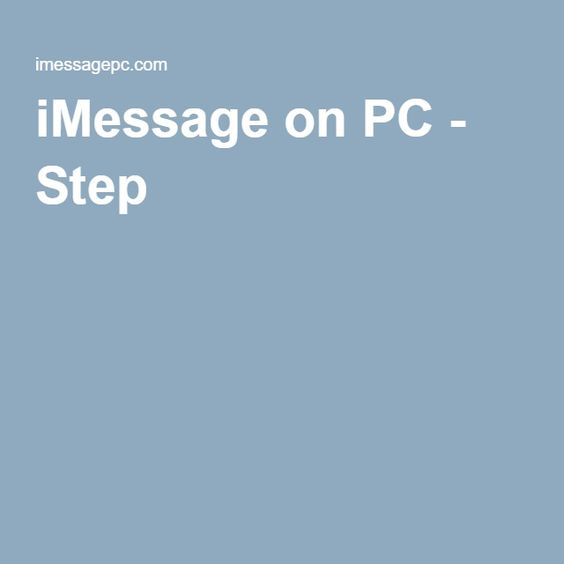 iMessage on PC - Step 2