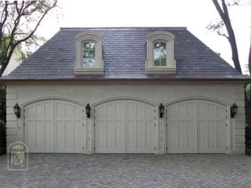 Carriage doors dormer windows and doors on pinterest for Garage with dormers