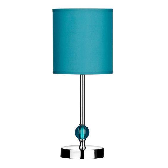 Table Lamp, Chrome Finish, Teal Acrylic Ball/Teal Shade