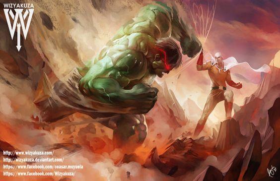 El increíble Hulk vs Saitama - Marvel y un golpe hombre cruce - impresión Digital de 11 x 17