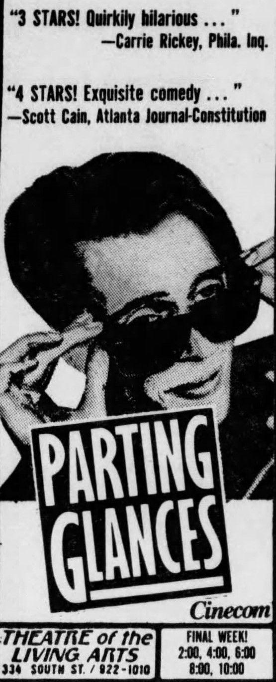 Parting Glances 1986 Alternative Movie Posters Philadelphia Inquirer Ads