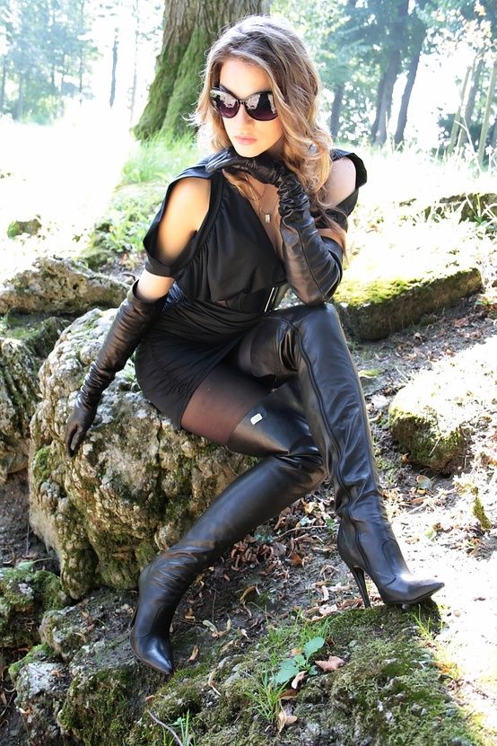 Luxury Woman Leather Boots And Gloves  Asians  Pinterest  Sexy Sexy Women