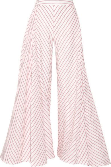 ROSIE ASSOULIN Miss Direction Striped Stretch-Cotton Cloqué Wide-Leg Pants. #rosieassoulin #cloth #pants