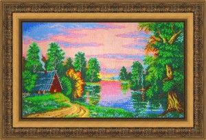 """Мои работы: вышивка """"Рассвет на реке"""" (Искусница)"""
