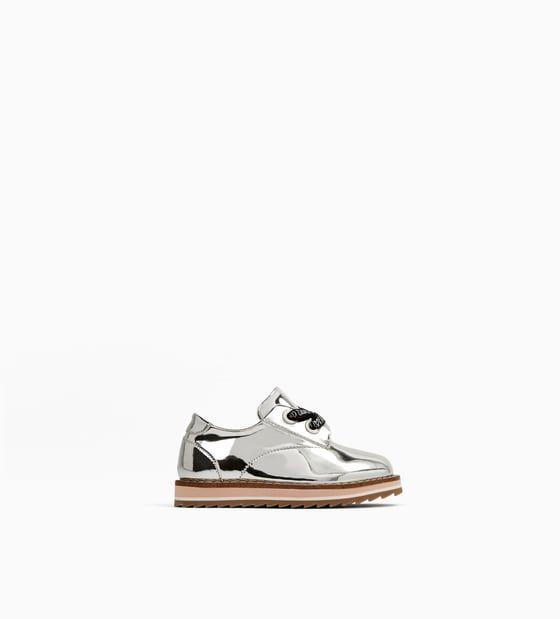Image 1 of SILVER DERBY SHOES from Zara | Zapatos para niñas