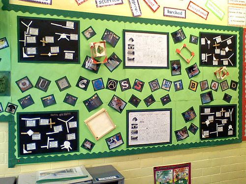 I love the letters in this bulletin board display!