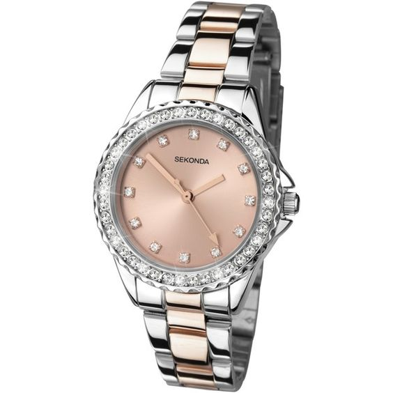 Sekonda 4254.27 Women's Rose Gold Plated Two Tone Bracelet Strap... ($77) ❤ liked on Polyvore featuring jewelry, watches, bezel bracelet, polish silver jewelry, bracelet watches, rose gold plated jewelry and rose gold watches