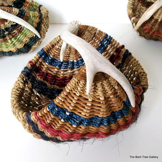 deer antler woven basket / the bent tree gallery