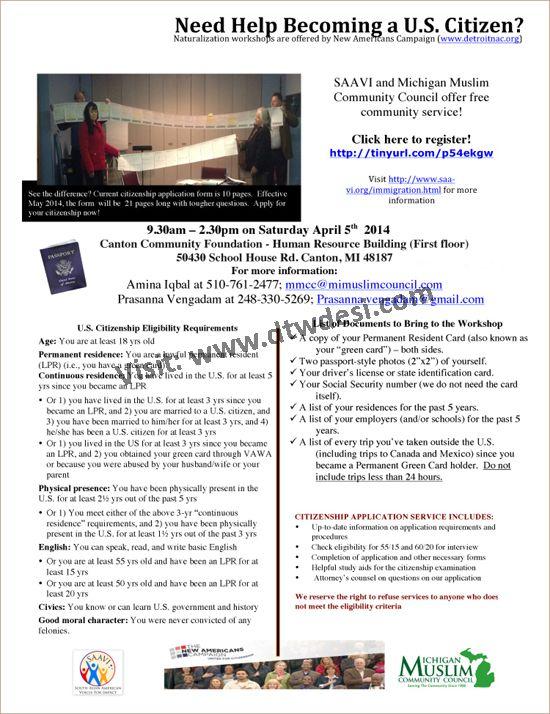 Dtwdesi - SAAVIu0027s Free Citizenship Services Workshop Community - citizenship application form