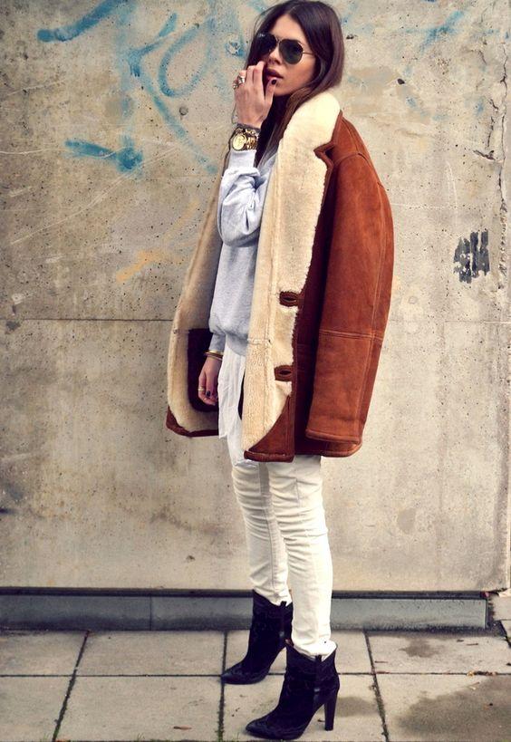 Wanted : une veste vintage en peau retournée (blog Maja Wyh)
