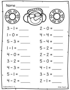 Winter Beginning Addition And Subtraction Worksheets Kindergarten