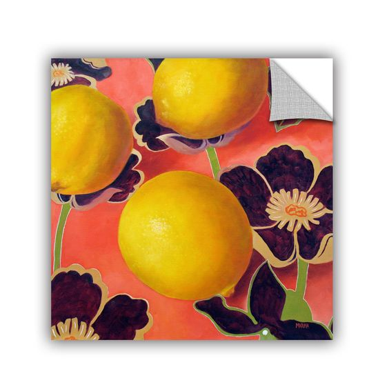 ArtApeelz Lemons On Persimmon by Marina Petro Painting Print on Canvas