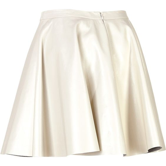 Neil Barrett Leather Circle Skirt (18.420 RUB) ❤ liked on Polyvore featuring skirts, real leather skirt, leather circle skirt, white skater skirt, white circle skirt and circle skirt