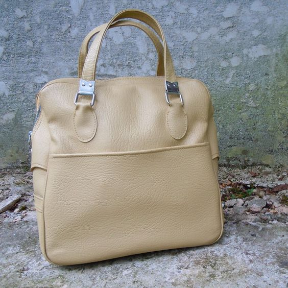 Vintage Vinyl Luggage  Ivory Tote Bag by NestEggVintage on Etsy, $26.00