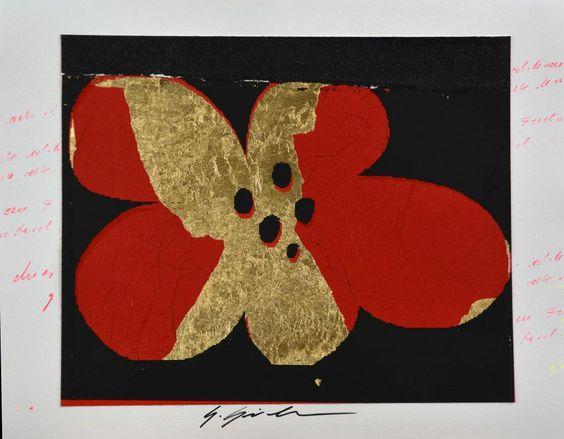 Giuliano Grittini Red Flower 1, 2015 tecnica mista su carta, cm 50x65