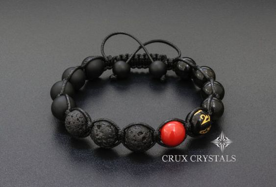ROTE Fleck Lava Rock & Black Onyx Herren Armband von CruxCrystals