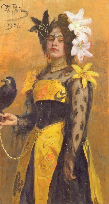 """Ilya Repin: """"Portrait of Lydia Kuznetsova"""", 1901, Oil on canvas, Dimensions: 117 × 64 cm, Private collection."""