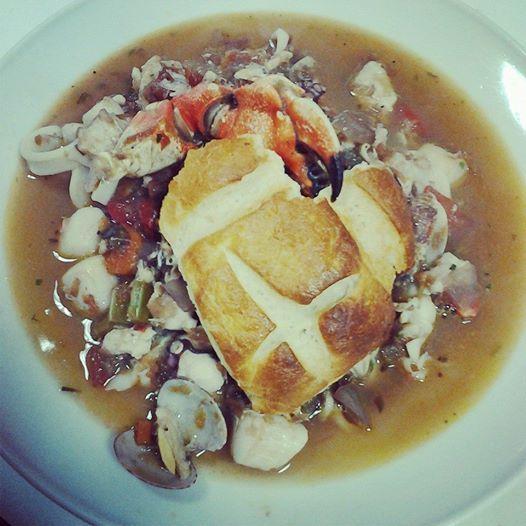 San Francisco Cioppino in sourdough bread bowl.