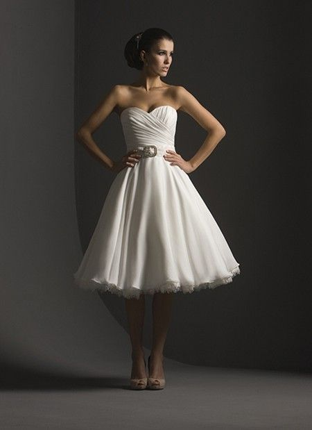 Sweetheart Tea length Wedding Dress-engagement dresses-plus size ...