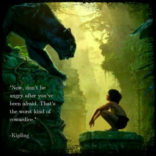 """""""Now, don't be angry after you've been afraid. That's the worst kind of cowardice."""" Rudyard Kipling The Jungle Book"""