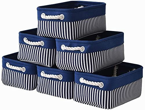 New Canvas Storage Baskets 6 Pack Small Fabric Storage Bins Toy Storage Baskets Empty Gift Baskets Sh Fabric Storage Bins Canvas Storage Small Storage Basket