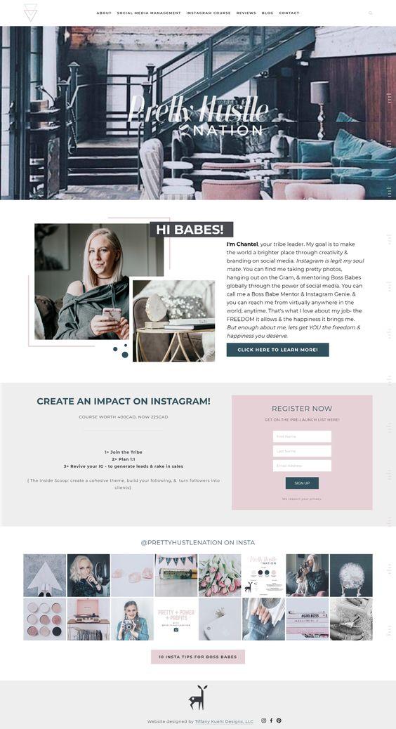 Pretty Hustle Nation Website Design Tiffany Kuehl Designs Interior Design Website Web Development Design Web Design Tips