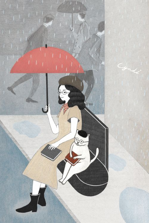 Readers in the rain / Lectores bajo la lluvia (ilustración de Miss Cyndi):