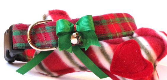 Jingle Bells Christmas Plaid Pet Collar by FastigesMadeWithLove, $11.99