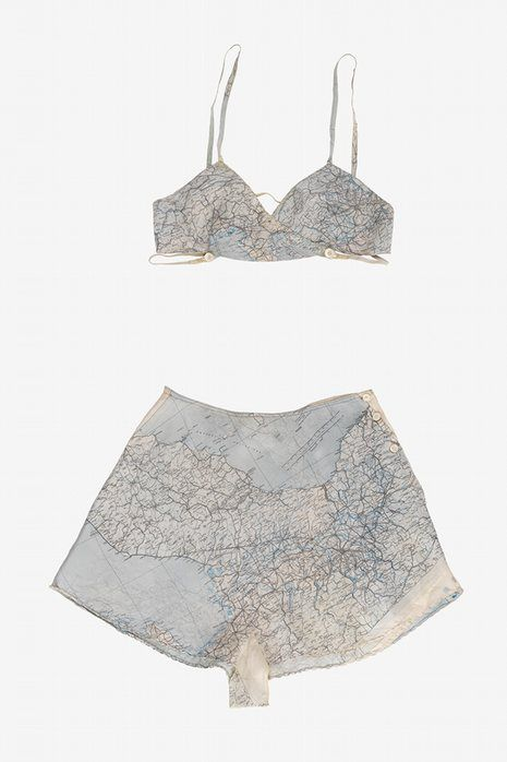 A set of Countess Mountbatten's underwear made from a silk map given to her by a boyfriend in the Royal Air Force.:
