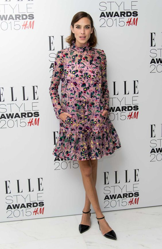 Alexa Chung in Erdem and Topshop shoes at the Elle UK Style Awards 2015. Photo: Gareth Cattermole/Getty Images.